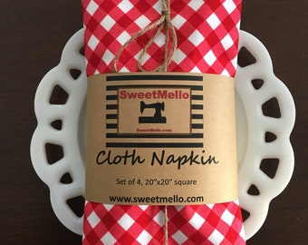 Patriotic Picnic Red Gingham by Riley Blake Designs Cloth Napkin
