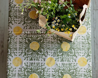 "Linen tablecloth ""Dandelion"" lino block printed"