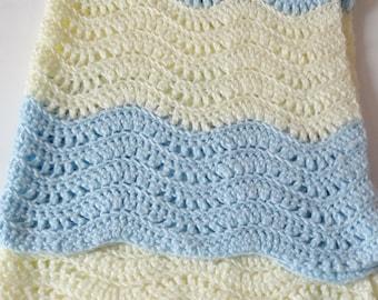 1 Pastel Blue Soft Cream Crochet Afghan Baby Blanket, Wavy Striped Crib Throw, Lap Blanket, Baby Blue, Boy Nursery/Bedroom, Baby Shower Gift