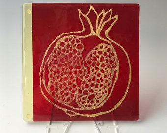 Pomegranate Fused Glass Trivet, Fruit Trivet, Art Piece