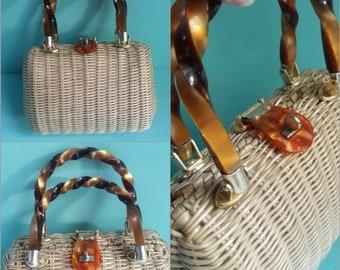 1960s Vintage Purse Bakelite Handles Lesco Lona Bag Natural Color 60s Accessories Vintage Handbag Basket Purses