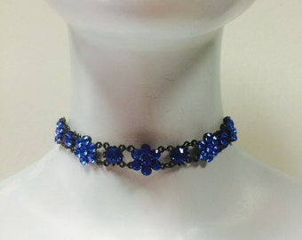 Flower Choker Made with Saphire Blue Swarovski Crystals black Plated