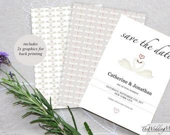 Save the Date Invitation Wedding Save Date Card Save-The-Date DIY Printable Save Date PDF Save the date DIY Wedding Date Printable Swans01