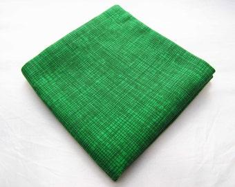 Men's Pocket Square - Emerald Crosshatch