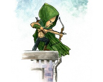 Green Arrow Comic Book Watercolor Painting Print