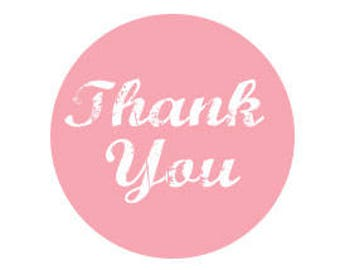 90 Pink Thank You Stickers 2 Inch