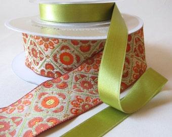 "Straw and Orange Bukhara Ribbon Trim by LFNT 1 1/2"" Wide - Renaissance Ribbons - Jacquard Ribbon"