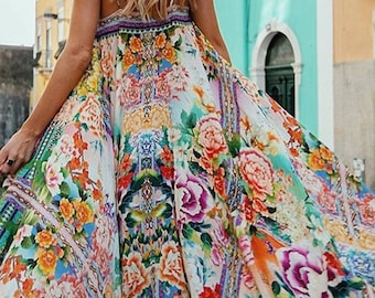 Polychrome Spaghetti Strap Print Detail Maxi Dress