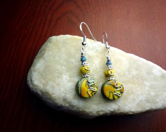 Yellow and Silver Wire Wrapped Polymer Clay Earrings