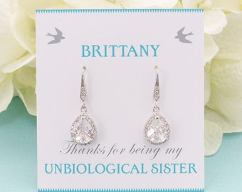 Wedding Jewelry, Personalized Bridesmaid Gift, Bridesmaid Earrings, Bridesmaid Jewelry, Crystal Bridal Teardrop Earrings, Mother of Bride