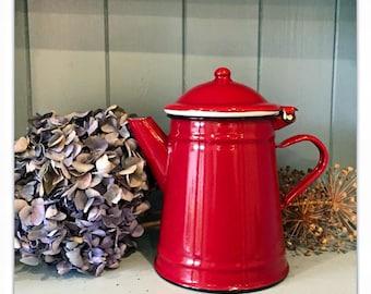 Vintage Style Crimson Red Enamel Coffee Pot