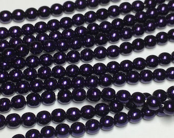 120 4mm Round Preciosa glass pearls, purple