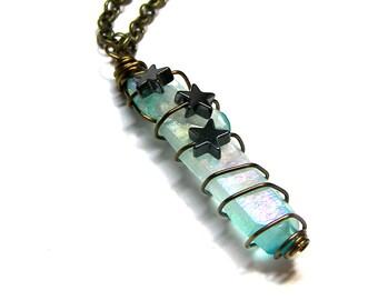 Aqua Aura Quartz Crystal Pendant Rainbow Sky Blue Raw Rough Crystal Pendant Hematite Star Pendant Boho Crystals Top Selling Jewelry