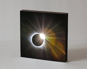 Total Solar Eclipse 2017 - Diamond Ring Effect - Wood Photo Block, Astrophotography, Solar Eclipse Photo, Eclipse Photography, Total Eclipse