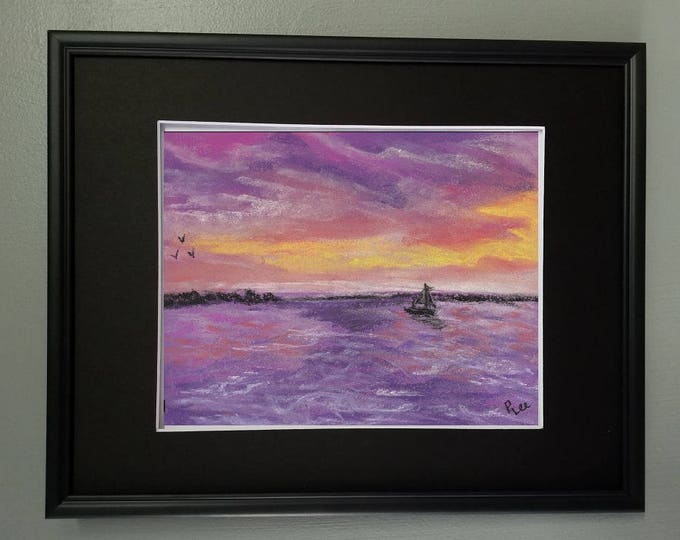 "8x10 Original Pastel Water with Sailboat Painting, ""Purple Sunset"""