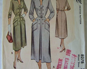 McCall 8278 Sewing Pattern for Womens Dress from 1950 Size 16 Bust 34