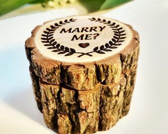 Wooden Ring Box / Wooden Engagement Ring Box / Ring Bearer Box / Rustic Wedding Decor / Ring Pillow / Engraving Ring Box / Rustic Ring Box