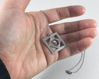 Square Geometric Necklace with Crystal + Sterling Silver Chain