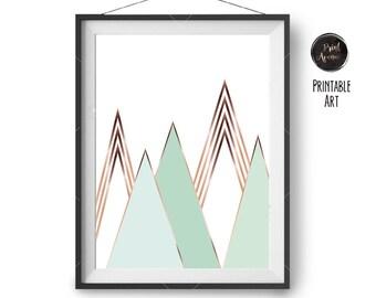 Mint Mountain Print, Scandinavian Decor, Copper, Nursery Printable, Geometric Print, Minimalist Art, Abstract Poster, Digital Wall Print