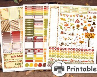 PRINTABLE Thanksgiving Planner Stickers,Fall Planner Stickers, Autumn stickers, Stickers for use with Erin Condren Life Planner