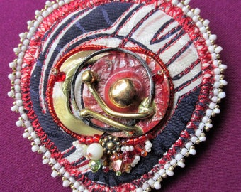 Fabric and Bead Collage Pin
