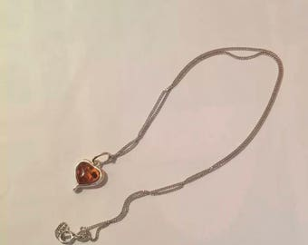 925 sterling silver baltic amber heart necklace