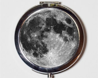 Full Moon Compact Mirror - Celestial Outerspace - Make Up Pocket Mirror for Cosmetics