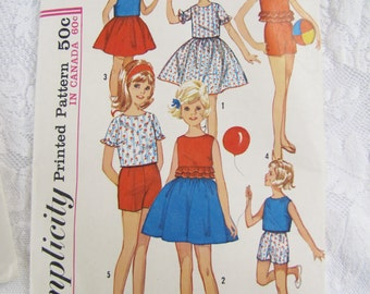 Set of Two Antique Sewing Patterns- Girls size 12 1960's Vintage Patterns-  Skirt, Top, shorts, Playset, Slip, Petticoat- Mad Men Style-