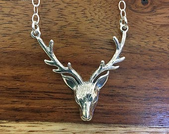 Stag Necklace, Antler Necklace, Deer Necklace, Sterling Silver Stag Necklace, Hunting Jewelry, Sterling Silver Antler Necklace, Deer Jewelry
