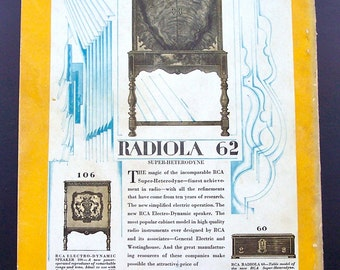 Vintage RCA Radio and Hoover Advertisements 1920's Color Ad Black and White Collectible advertisements