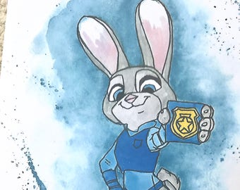 Disney's Judy Hopps from Zootopia Watercolour Painting Print in A5 & A4.