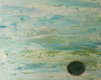 Island Life - Original Acrylic Painting With Agate Slice - 20x20x1.5