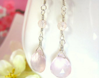 Pink chalcedony dangle sterling silver earrings, blush pink drop chalcedony silver earrings, rose quartz blush pink serenity dangle earrings