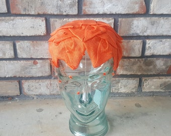 Vintage Beauty - Mid-Century Orange Casque Hat with Veil, Spring or Summer Cap / Band Jackie Onassis Pillbox