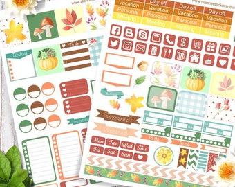 Printable Planner Stickers, Happy planner and Mini Happy planner autumn