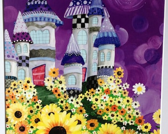 Sunflower Castle - Fantasy - Midnight - Art Print - 8x10 with white matte included