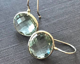 14k solid yellow gold and green amethyst earrings, prasiolite, oval earrings, checkerboard cut