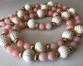 Peaches and Cream Light Weight 16mm and 10mm Lucite Summer Bead Necklace