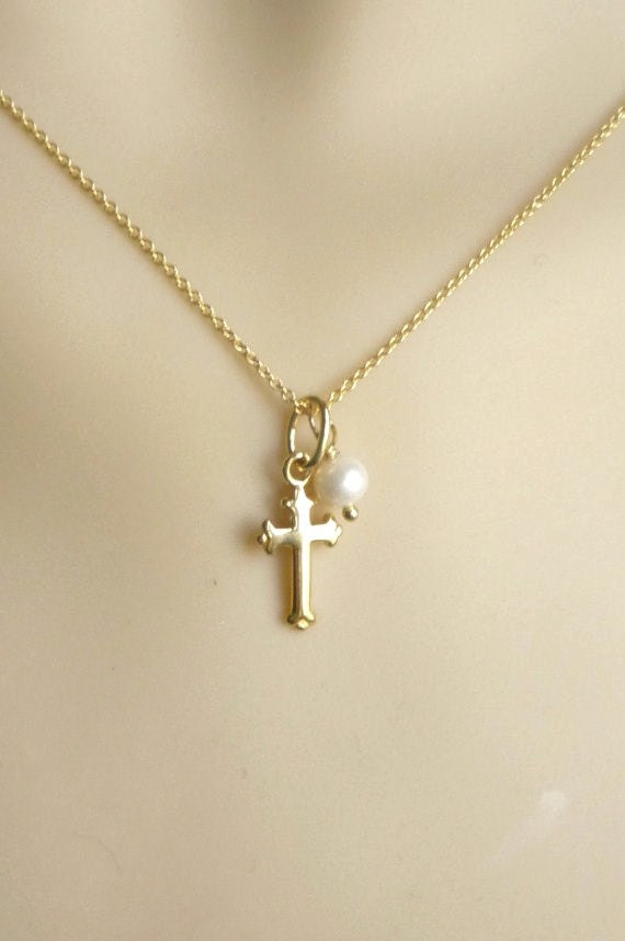 Gold cross necklace with pearl charm fate necklace vermeil aloadofball Gallery