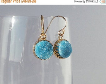 ON SALE Druzy Earrings, Gold Dangle Earrings, Turquoise Drusy Earrings, Drusy Earrings, Turquoise Earrings, Crown Set, Gift for Her