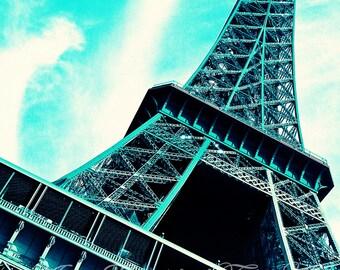 Paris Photography-Fine Art-Preppy -Dorm Decor-Nursery Art-Eiffel Tower-Teal Blue-Fashion Art-French Script-Paris Je T'aime-Fashionista-Love