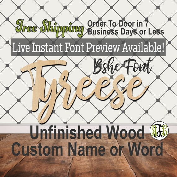 Bshe Font Custom Name or Word Sign, Cursive, Connected, wood cut out, wood cutout, wooden, Nursery, Wedding, Birthday, name sign, Script