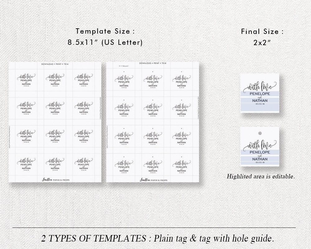 Wedding Gift Tag Template, Printable Wedding Favor Tag Label Sticker ...