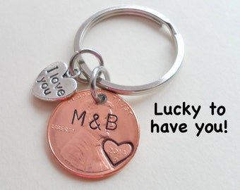 I Love you Penny Keychain, Couples Keychain, Lucky Penny, Anniversary Gift, Husband Wife Key Chain, Boyfriend Girlfriend Gift, Customized