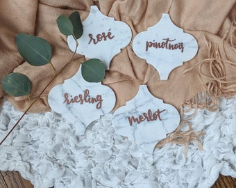 Rose, Riesling, Merlot, Pinot Noir-Lantern Marble Coasters // Set of 4 // Italian Calcutta Marble // Hand-Lettered Coasters