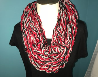 Yarn Scarf, Fuzzy scarf, Grey, Black, Red, scarf, Soft scarf, Nonirritating, Comfy.