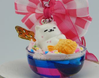 Neko Atsume, Cat, cat, sundae necklace, with bow, for car, as decoration, key fob suitable, Japan fashion jewelry