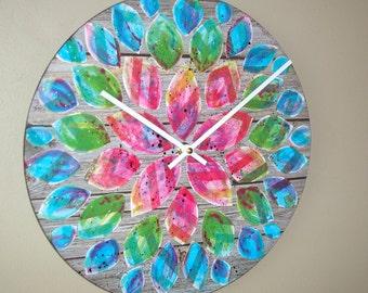 Original Art  Floral Wall Clock 12-Inch SILENT, Rainbow Dahlia Clock, Hand Painted Clock, Unique Wall Clock - 2214