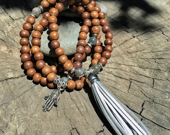 LABRADORITE & WOOD Mala Beads with SILVER Suede Tassel   108 Bead Crystal Mala Yoga Necklace   Om Meditation Beads by Mayan Rose MayanRose
