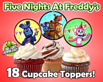 Five Nights at Freddy's FNAF Birthday Cupcake Toppers Instant download Printable DIY
